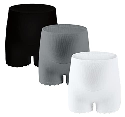 SEAUR Paquete de 3 bragas de maternidad de algodón para mujer, ropa interior de cintura alta, calzoncillos tipo bóxer para mujeres embarazadas, cómodo soporte para el vientre blanco XXL