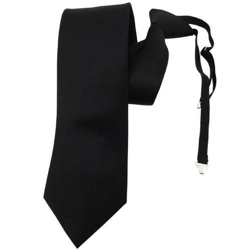 TigerTie Security Satin Seidenkrawatte in schwarz einfarbig uni Gummizug - Krawatte Seide