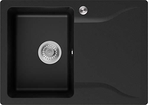 Granitspüle Schwarz 70 x 50 cm, Spülbecken + Siphon Pop-Up, Küchenspüle ab 45er Unterschrank, Einbauspüle Philadelphia von Primagran
