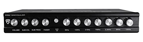 Rockville R7EQ 1/2 Din 7 Band Car Audio Equalizer EQ w/Front, Rear + Sub Output
