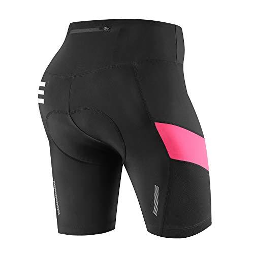 Nooyme - Pantaloni da ciclismo da donna, imbottiti 4D, ad asciugatura rapida, elasticizzati, traspiranti, con imbottitura ampia e fitta, Donna, Colore: rosa., S