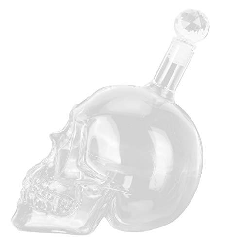 Recipiente de vino, botella de vino de cristal con forma de calavera Recipiente de botella de whisky transparente para licor de vodka(1000ML)