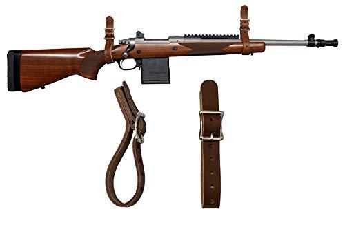 1844 Helko Werk Germany Leather Gun Hangers, Wall Mount Hooks for Rifles and Shotguns, Long Guns and BB Gun Rifle Made in USA Handmade Gun Rack Wall Mount Hanger Gun Accessories