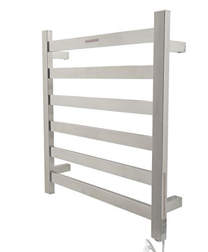 ANZZI Note 6-Bar Wall Mounted Towel Warmer in Brushed Nickel | Energy Efficient 93W Electric Plug in Heated Towel Rack for Bathroom | Stainless Steel Towel Heater Rail Quick Towel Dryer | TW-AZ023BN