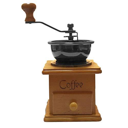 Macinino classico manuale in legno e acciaio inox. Stile retrò: per spezie e caffè e spezie. In ceramica di ottima qualità