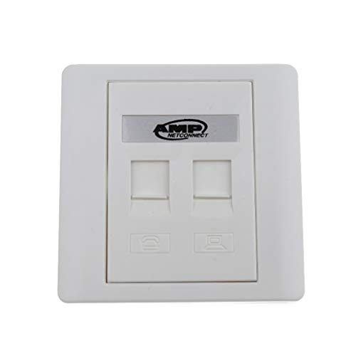 H HILABEE 2Port White Wall Plate With RJ45 RJ11 Inline Coupler Ethernet Network Jack
