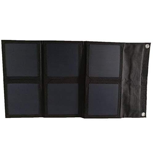 Panel solar plegable, 21 W, alimentación para camping, monocristalino, flexible, color negro