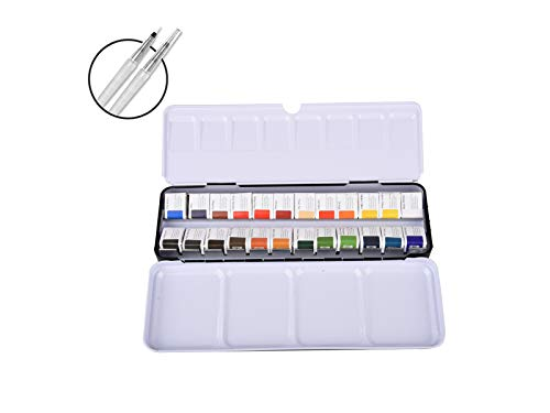 Minsuntulip Artist Watercolor Paint Set, 24 Colors Richly Pigmented Solid Watercolor Pigment with Palette and Water Brush Pen for Artist, Students, Beginners, Hobbyists