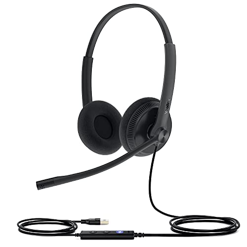 Yealink Headset with Microphone USB Headset Computer Headset PC Laptop Headset Teams Certified UH36 UH34 Wired Noise Cancelling with Mic Stereo (for Microsoft Optimized, UH34-DUAL-Lite)