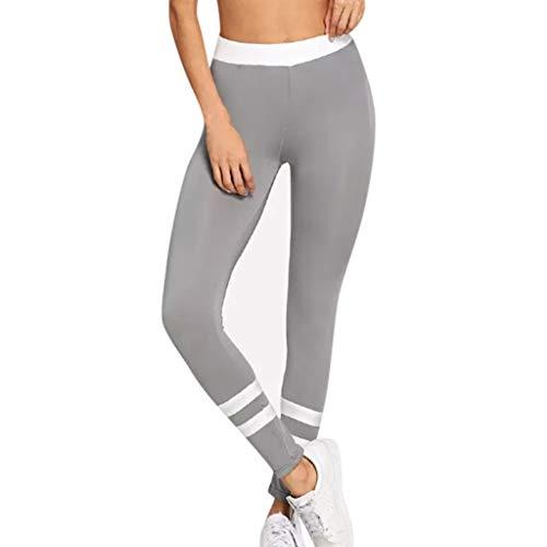 Fossen MuRope Pantalones Mujer Cintura Alta Elasticosde de Costuras Bicolores a Raya Energizado - Leggings Deporte Mujer Yoga Deslumbrante - Pants Fitness para Chica Adolescente, Niñas