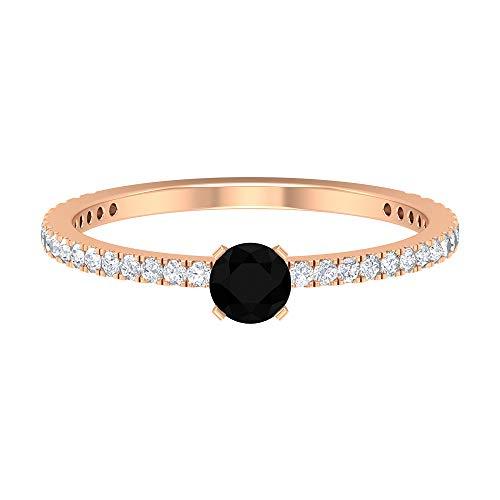Rosec Jewels 14 quilates oro rosa redonda Round Brilliant Black Moissanite Ónix negro