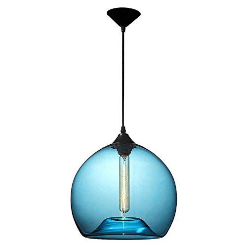 Modeen Moderne plafonnier éclairage unique tête soufflé à la main bleu bulle en verre boule abat-jour pendentif lampe éclairage suspendu pour salle à manger Grange entrepôt Bar cuisine