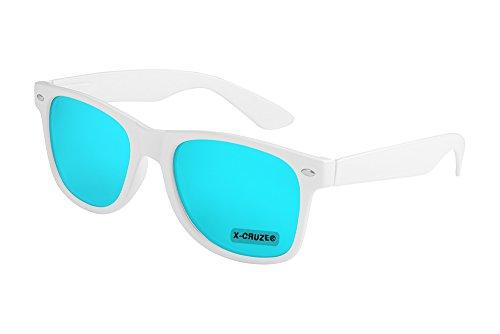 X-CRUZE 8-106 - Gafas de sol nerd retro vintage unisex hombre mujer gafas nerd - blanco y azul claro