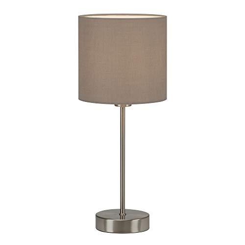 Briloner Leuchten - Tischleuchte, Tischlampe, Nachttischleuchte, Nachttischlampe, Schreibtischlampe, 1x E14, inkl. Kabelschalter, Stoffschirm, Taupe, 160x385mm (DxH), 7002-011