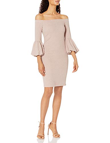 Eliza J Women's Off The Shoulder Bodycon Dress with Balloon Sleeve, Taupe, 8