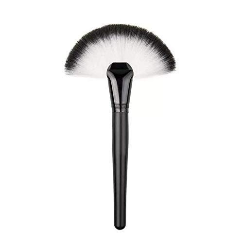Pinceaux de maquillage, noir et blanc Grand pinceau de maquillage en forme d'éventail Pinceau à blush Poudre libre Outils de beauté Manche en bois massif Idéal pour un usage professionnel et quotidien