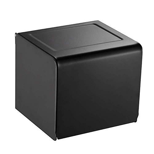 COLiJOL Caja de Papel Servilletero Caja de Pañuelos Inodoro de Aluminio Portarrollos Impermeable Caja de Pañuelos Negra para Colgar en la Pared