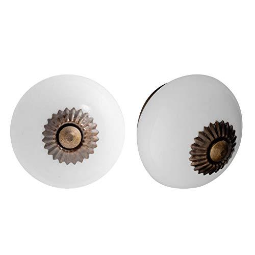 Nicola Spring Poignées en céramique - pour Placard/tiroir - Blanc - Lot de 24 pichets