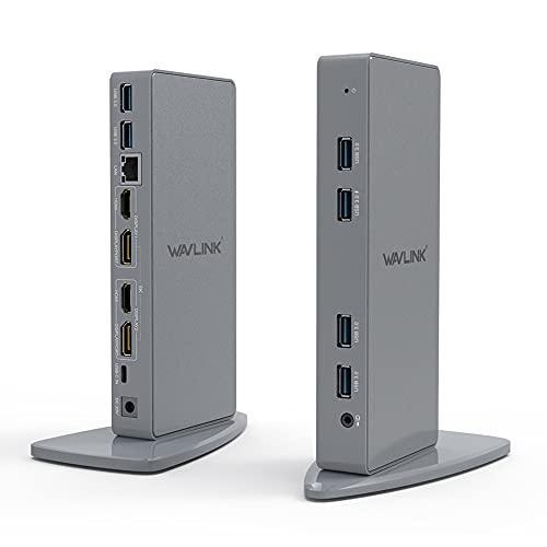 WAVLINK USB C Universal Laptop Docking Station, Dual 4K@60Hz Display & 5K Single Video Display for Laptop and PCs (2x4K@60Hz HDMI, 2x 4K@60Hz Display Port, Gigabit Ethernet, 6 USB 3.0, Audio)