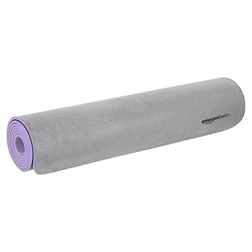 AmazonBasics Tapis de yoga en TPE et daim, Violet 0,76 cm
