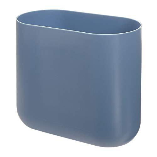 iDesign Bad Mülleimer, kleiner Papierkorb aus Kunststoff, schmaler Abfalleimer ohne Deckel für Bad, Küche und Büro, blau