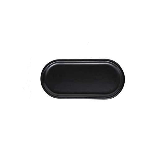 Placa de cerámica de mármol Placas de placa oval creativa Postres de la placa de almacenamiento de la placa de almacenamiento de la placa de almacenamiento (glaseado negro)