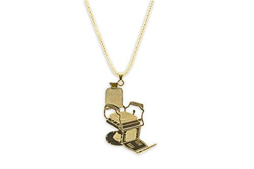Large Barber Chair Necklace w/Ball Chain & Key Ring (Gold)
