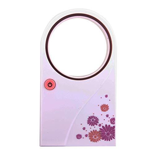 LIOOBO Été Portable Mini-Climatiseur Portable Électrique Sans Ventilateur Aucune Feuille Air Ventilateur Refroidisseur USB ou État de la Batterie (Rose)