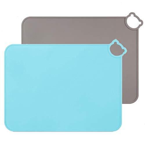 Manteles individuales de silicona para niños, bebés, tapetes de mesa aptos para lavavajillas, tapete portátil para alimentos para niños pequeños, juego de 2 de viaje (Gris-Azul)