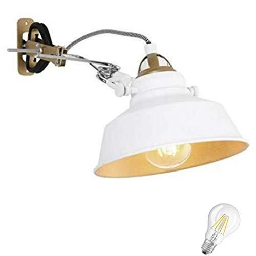 STEINHAUER 1320W Retro Klemmleuchte Regal Lampe Bett Leseleuchte Klemmlampe Vintage Leselicht in weiss, inkl. 6 Watt Filament Edison Vintage Led !
