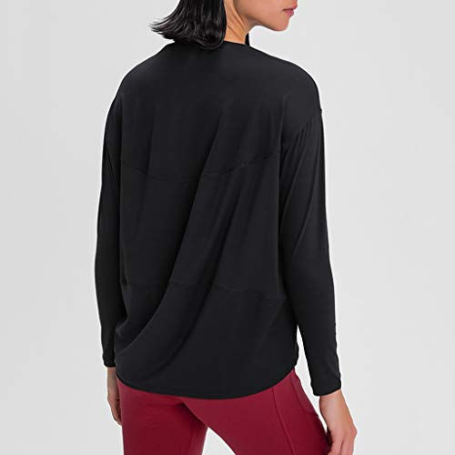 WYBFZTT-188 Frauen langärmelig Yoga Shirts lose atmungsaktive T-Shirt Sport fließender T-Stück Feuchtigkeitsdocht-Training Hemden Saum Tunika-Tanktop (Size : Medium)