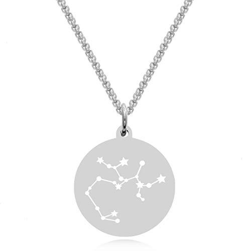 Timando Damen Kette Sternbild Schütze mit Gravur Sternzeichen Plättchen Anhänger Edelstahl