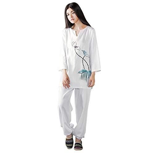 KSUA Mujeres Tai Chi Uniforme Zen Traje de meditación Ropa de algodón Kung Fu Chino Traje de Yoga, Azul EU XL/Etiqueta XXL