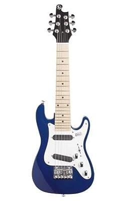 Vorson EGLST VBL S-Style Guitarelle Travel Electric Guitar with Gigbag, Metallic Blue