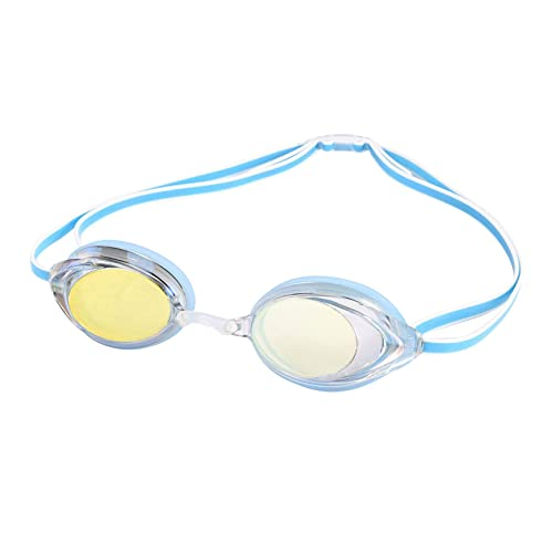 Gafas de natación impermeables y antivaho coloridas gafas de natación ajustables de silicona para lentes de natación Gafas de natación para adultos con protección solar (azul claro)