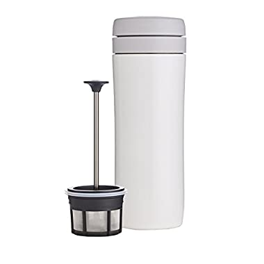 Espro Travel Coffee Press, Stainless Steel, 12 oz (Bright White)