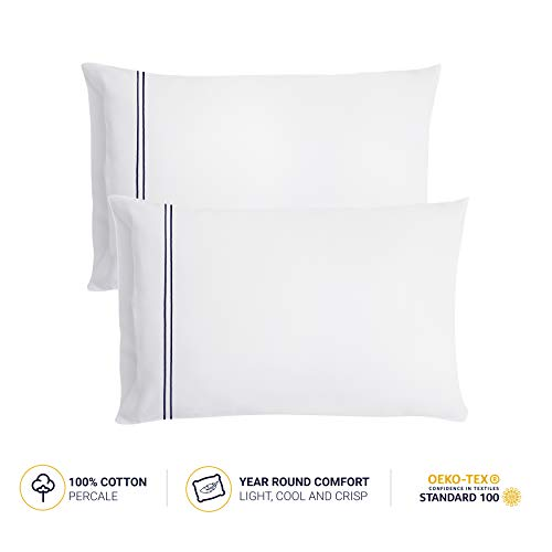 LateMornings Luxury Hotel Collection Pillowcases 300 Thread Count, 100% Cotton Percale Set of 2 White Pillow Cases Standard Size Embroidered with Dark Blue Satin Stitching - Queen