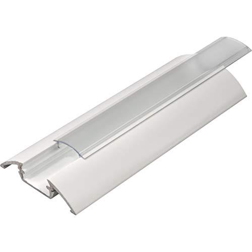 KIT de 4 x 1 mètre P4 Profilé en aluminium BLANC pour les bandes LED avec couvercles transparents, bouchons et clips de fixation