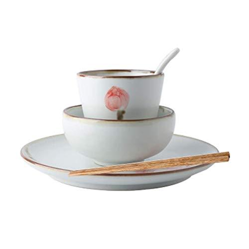 DZNOY Vajilla, 1 Persona Set de Cubiertos de gres Cubiertos de cerámica Hogar Retro Pintado a Mano Lotus Plato de Ensalada Cuchara de Sopa Cuenco de cerámica