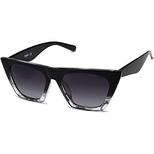 SOJOS Retro Square Cateye Polarized Women Sunglasses Trendy Style BELLA SJ2115 with Black&Black Marble Frame/Gradient Grey Lens