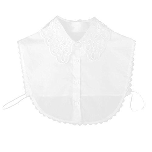 De las mujeres globalpowder PIXNOR de la mitad de quita y pon cortinas de encaje media con cinta desmontable camisa de cuello de la blusa (de color blanco) blanco