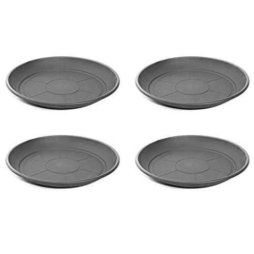 Acan Pack de 4 Platos de plástico para macetas de 30/40 cm Mediterránea. Bandejas, platillos, bajoplatos Redondos para tiestos de Interior, Exterior, jardín, terraza o balcón (Gris)