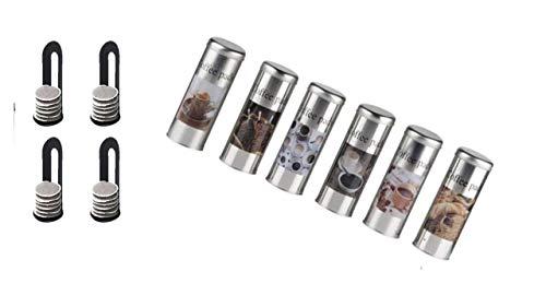 4x Kaffeepaddosen, Dekodose, Aufbewahrungsbehälter für Kaffeepads (4 Stück) + Padheber
