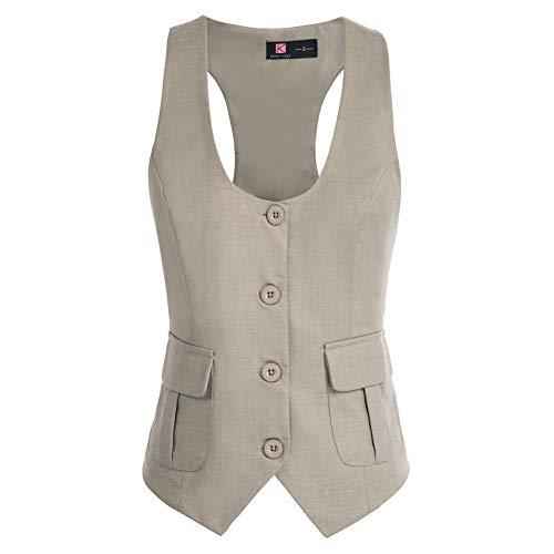 KANCY KOLE Damen Business Slim Fit V-Ausschnitt Elegant Weste Hemdbluse Outdoor Weste Elegant Moderne Weste KCE02134-2_L