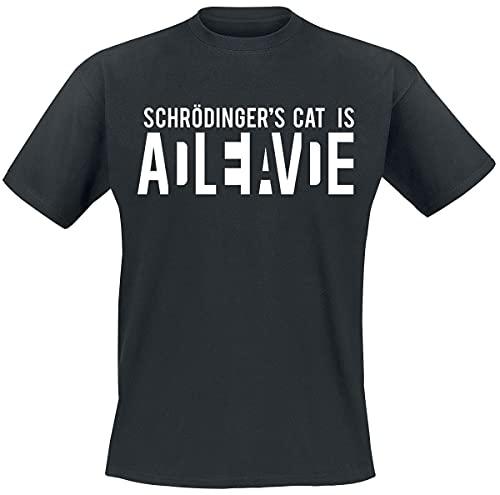Schrödinger's Cat Is Alive Homme T-Shirt Manches Courtes Noir S, 100% Coton, Regular/Coupe Standard