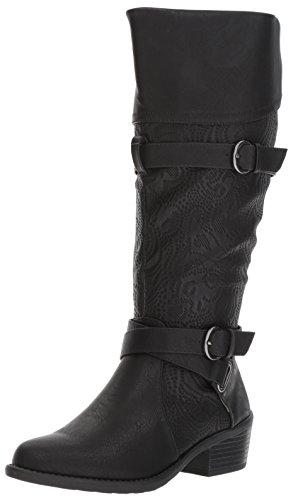 Easy Street Women's Kelsa Plus Harness Boot, Black/Embossed, 6.5 M US