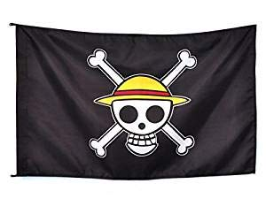 JINJIANG Anime One Piece Bandera Negra Flag Skull - Luffy Monkey D Luffy Cosplay Cartoon Pirate Victory Banner Flag 65 x 95cm