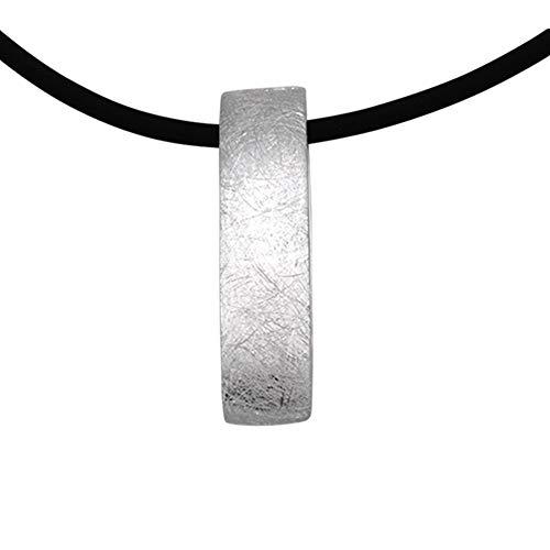 schlichter Silber Anhänger hochwertige Goldschmiedearbeit aus Deutschland (Sterling Silber 925) mit Kautschuk Collier inklusive Verlängerungs Kettchen - Damen Kette