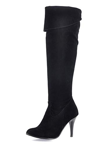 Minetom Frauen Stretch Faux Slim Hohe Stiefel Overknee Stiefel High Heels Schuhe A Schwarz 45 EU