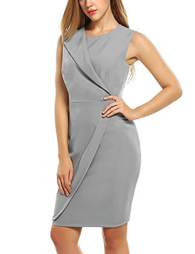 Zeagoo Damen Bodycon Kleid Wickelkleid mit Futter Ärmellos Elegante A-Linie Cocktailkleid...